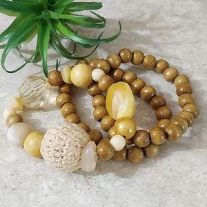 B727 Beaded Wooden Stretch Stacking Bracelet Set